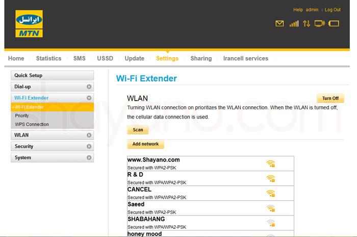 Wifi Extender در پنل تنظیمات مودم های 4G و LTE ایرانسل