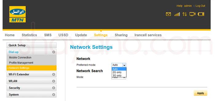 Network Setting در پنل تنظیمات مودم های 4G و LTE ایرانسل