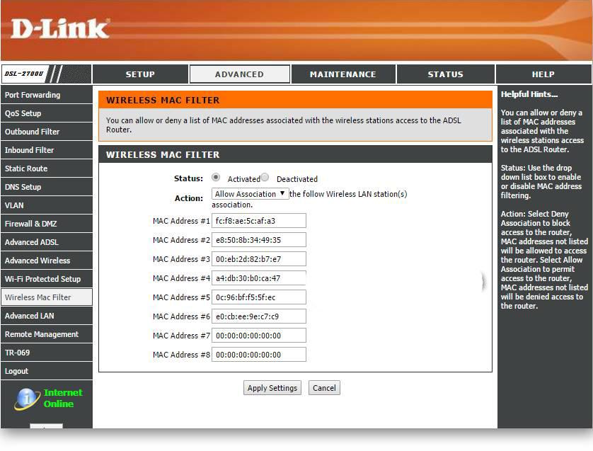 تنظیم مک فیلتر در مودم وایرلس D-link