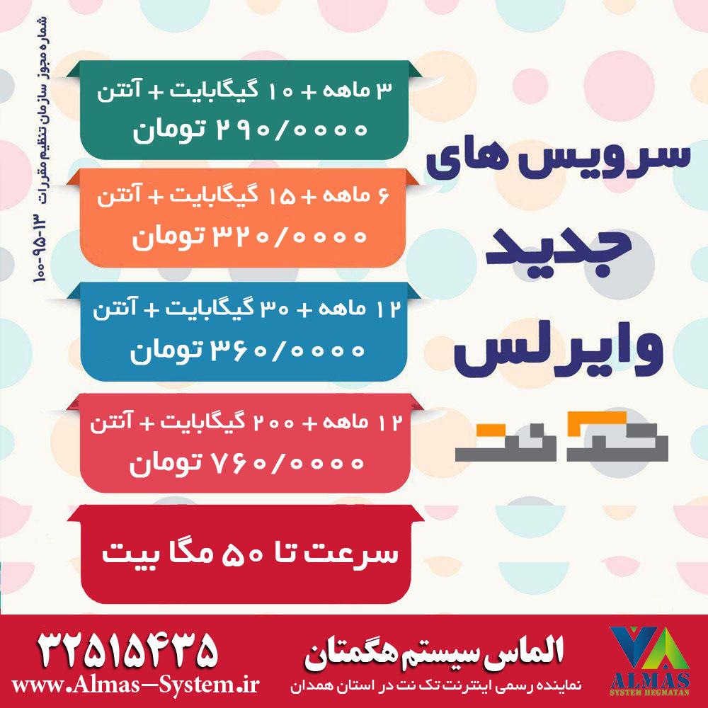 جشنواره فروش اینترنت وایرلس خانگی تک نت در استان همدان