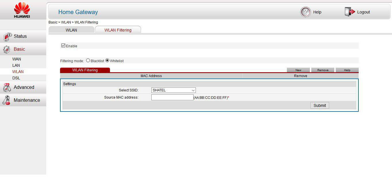 تنظیمات مک فیلتر در مودم وایرلس Huawei