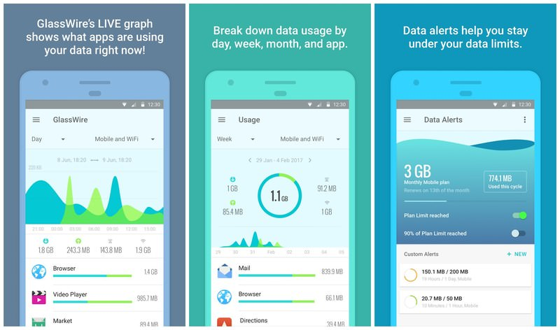 نرم افزار Glasswire Data Usage Monitor
